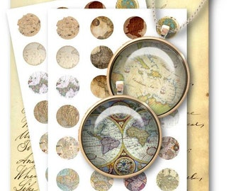 World Maps 1 inch Circles for Jewelry Pendants - Digital Collage Sheet Download -421 - Instant Download Printables