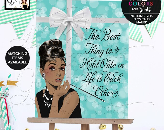 Breakfast at Bridal Shower Decorations, Poster, Signs, Decor, Audrey Hepburn African American Table Centerpiece, Dessert, Welcome, Birthday.