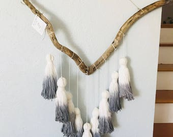 Blue ombre tassel wallhanging