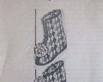 Vintage Crocheted Slipper and Bootee Pattern, mail order Design 7414, undated, double crochet, knitting worsted, S, M and L with rag soles
