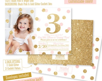 Pink and Gold 3rd Birthday Girl Invitation Photo Card - Blush Pink Gold Glitter Third Birthday Party Invites, Glitter Number 3