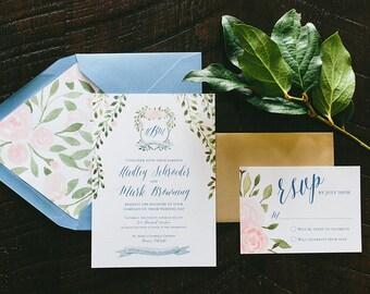 Hadley Watercolor Crest Wedding Invitation Suite