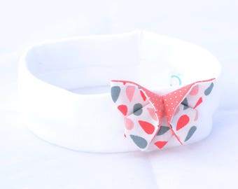 White and pink origami headband girl