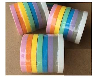 8 rolls Washi Masking Tape - rainbow
