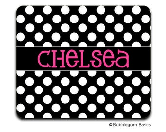 Personalized MOUSEPAD Custom RECTANGLE or CIRCLE Black White Polka Dot Pink - any monogram name initial Office Home Computer