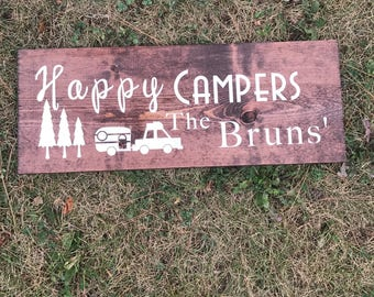Camping (wood Sign) personalized