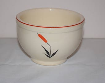 Small Bowl 1940's USA Universal Cambridge Red Cattail, Universal Pottery Cambridge, Ohio Pottery