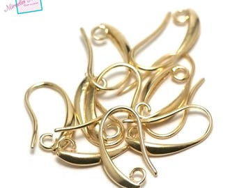 "10 ""curved"", gold earring hooks"