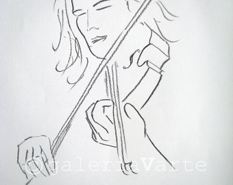 original charcoal drawing  - violinist - music - europeanstreetteam