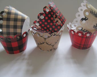 Cupcake wrappers, Lumber Jack Baby Shower, Lumber Jack Birthday, Lumber Jack Cupcake Wrappers, Woodland Cupcake wrappers, Woodland Party