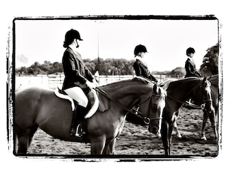 "Girls on Horses at Horse Show ""Anticipation"" Fine Art Print"