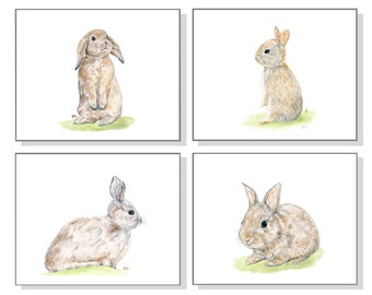 Bunny Art Bunny Paintings Bunny Prints Bunny Print Set of 4 Bunny Watercolor Bunny Rabbit Art Bunnies Poster Bunny Wall Decor Bunny Wall Art