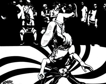 8.5x11 B-Boy Stencil Art Print