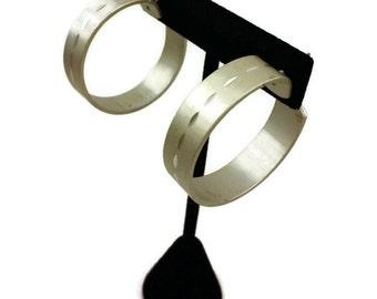 1970's Diamond Cut Design Medium Hoop Earrings