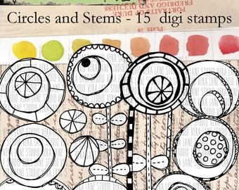 Circles and Stems - 15 digi stamp bundle