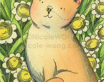 Original ACEO Watercolor Painting and Ink Drawing Artwork -- Garden Bee