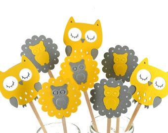 12 Yellow Owl Cupcake Toppers / Owl Party Decor / Owl Invitation / Owl Party Theme / Yellow & Grey Owl Cupcake Toppers / Owl Baby Shower