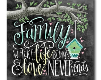 Family Where Life Begins And Love Never Ends Chalk Art Sign Chalkboard