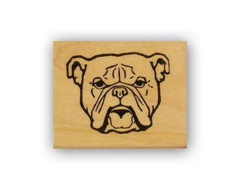 English Bulldog Face large, mounted rubber stamp, military, marines mascot, USMC Crazy Mountain Stamps #4