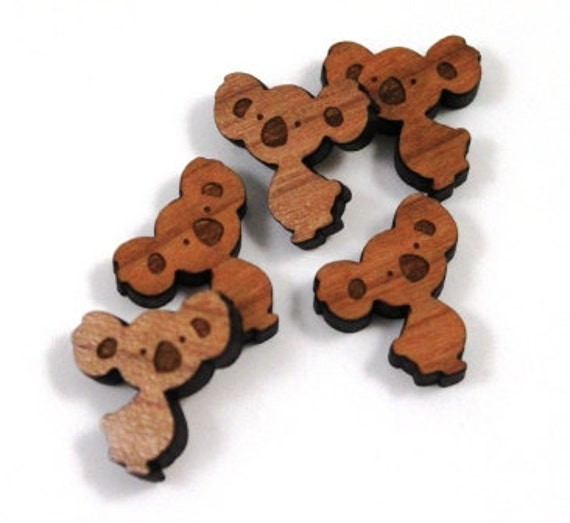 Laser Cut Supplies-8 Pieces.Koala Charms -  Laser Cut Wood Koala -Earring Supplies- Little Laser Lab Sustainable Wood Products