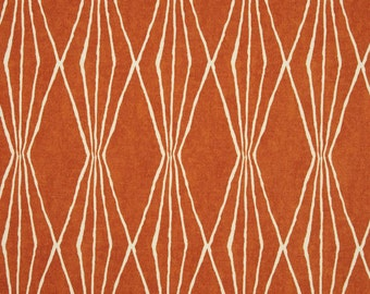 Handcut Shapes Orange Crush Fabric by Robert Allen, Geometric Fabric, Burnt Orange and Ivory Drapery Fabric - By the yard - SHIPS FAST