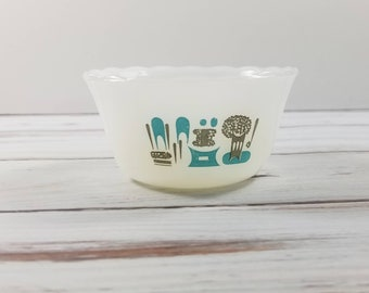 Fire King Milk Glass Custard or Prep Bowl, Small Milk Glass, Blue Pattern, Retro bowl 1950s