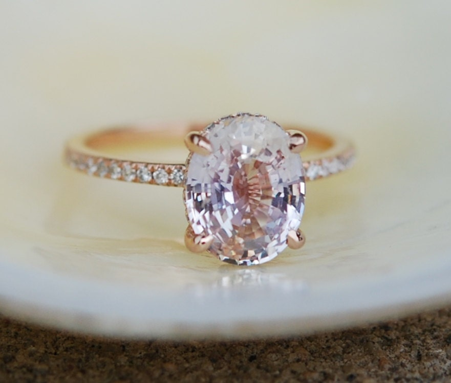 sapphire ring champagne diamond engagement media rings raspberry cushion gold rose peach lavender