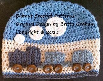 Easy Peasy Train Hat crochet pattern for boys No.109 Digital Download English