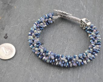 Grape/Silver/Pewter Kumihimo Artisan Bracelet