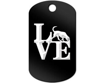 Love Bloodhound Engraved GI Tag Key Chain Dog Tag park blood hound - MDT-414