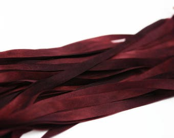 100% Pure Silk Ribbon 7mm Red Embroidery Hand Dyed - Bordeaux 3 mtr