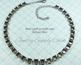 39ss (8.5 mm) Antique Silver empty cup necklace