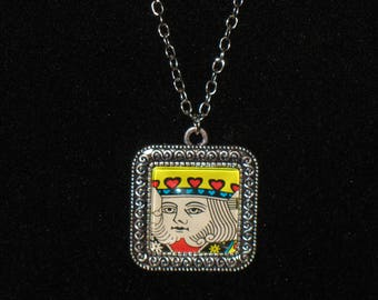 King of Hearts Square Glass Cabochon Silver Pendant Necklace 24 inch Playing Cards
