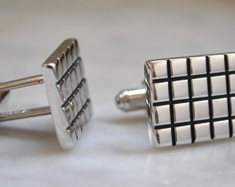 Retro Hickok Chrome & Black Grid Cuff Links