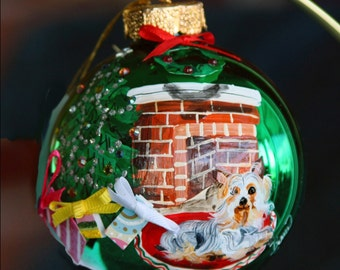 Hand Painted Christmas Ornament with a little yorkie next to  the tree item 31