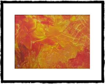 The hoard-picture, unique, original encaustic-no print, yellow, red