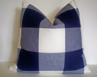 Buffalo Check Pillow Cover, Blue Indigo Check Buffalo Check Large Blue Check P Kaufmann Pillow 0