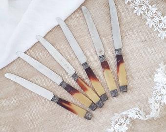 6 large knives carving fork - vintage