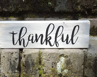 Thankful Block Sign Home Decor