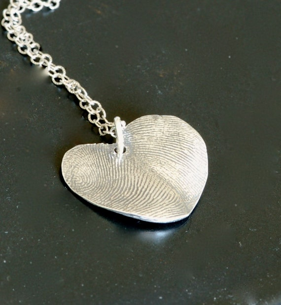 Father and child - fingerprint heart necklace