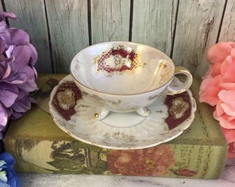 Royal Sealy Tri Footed Lusterware White Red Tea Cup and Saucer Fine Bone China Vintage Japan Made Lovely EVC teacup