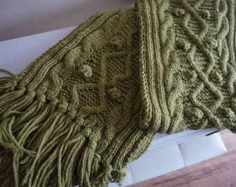 green wool blend scarf