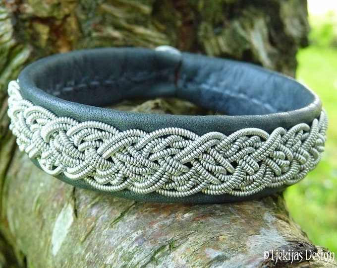 Sami Bracelet YGGDRASIL Swedish Jewelry Handmade Unisex Cuff in Gray Reindeer Leather, Pewter Braid and Antler Button