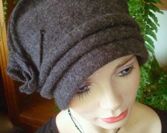 womens hat cloche wool grey winter
