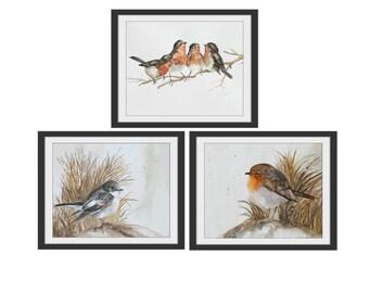 Print Bird Painting in watercolor painting of Bird PRINT art kitchen wall decor art bird painting of robin PRINT small PRINT of robin set