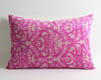ikat pillow, ikat pillow cover, pink ikat pillow, velvet pillow, ikat velvet pillow, pillow, decorative pillows, pink pillows, ikat