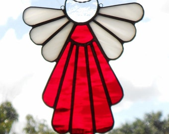 Stained glass panel lily with cross leaded panel easter stained glass angelred glass angelglass suncatcherbaby giftangel suncatcher negle Images