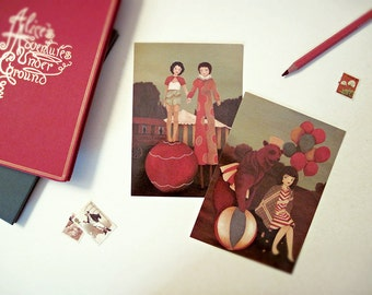 Postcard Set, Postcard Collection, Set of Postcards, Blank Card Set, Postcard Set, Postcard Pack, Circus Postcard Set - Carnival Darlings