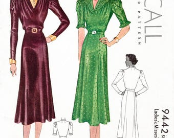 1930s 30s dress pattern // Vintage Sewing Pattern reproduction // day or afternoon dress // accordion pleat trim // two styles // bust 36