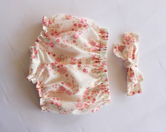 Organic Baby Bloomers, Baby Bloomers and Headband, Baby Girl Headband, Baby Girl Clothes, 1st Birthday Cake Smash, Coral Flowers